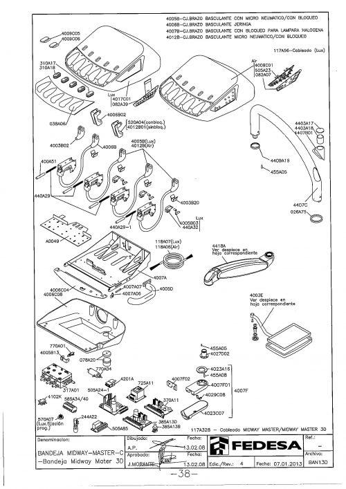 Я-1. Запчасти на стоматологическую установку Fedesa Bandeja Midway-Master-C - Bandeja Midway Mater 3D   Fedesa (Испания)